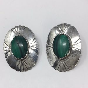 Malachite sterling earrings Native American signed
